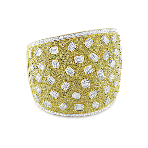 Yellow & White Diamond Cuff Bracelet