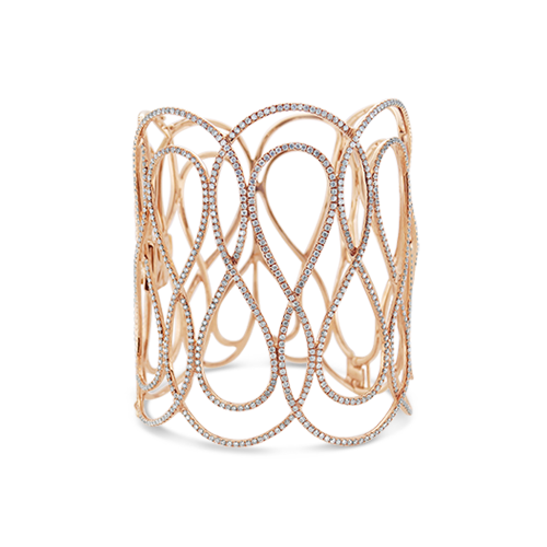 Diamond Swirl Openwork Bangle Bracelet