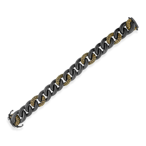 Brown Zircon Intermittent Curb Link Bracelet