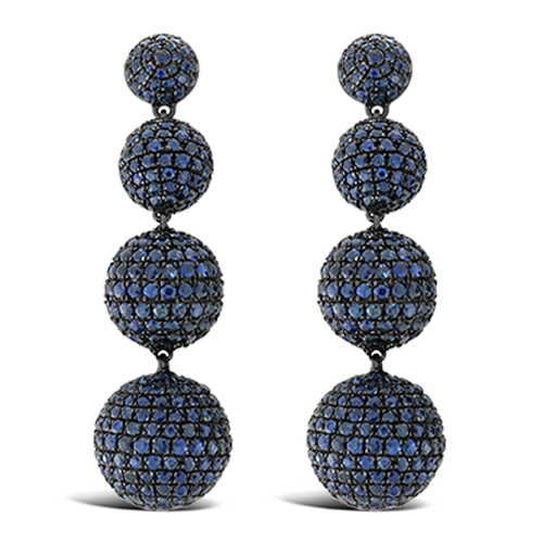 Blue Sapphire Ball Dangle Earrings