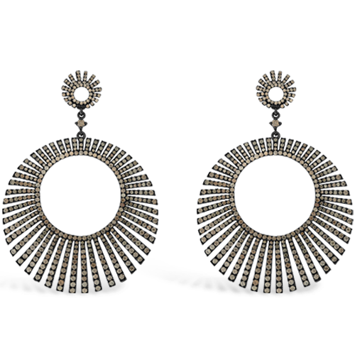 Brown Zircon Sunburst Design Earrings