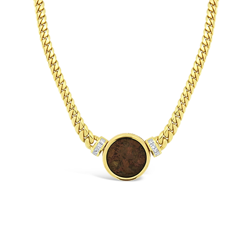 Gold & Diamond Coin Necklace