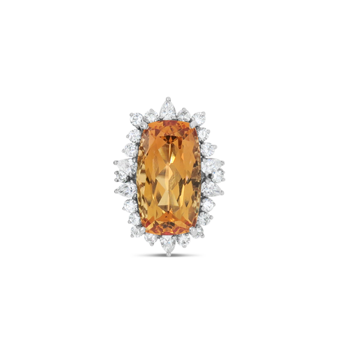 Cushion cut Imperial Topaz & Diamond Ring