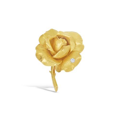 Gold Estate Rose Pin