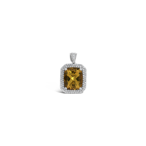 Yellow Beryl & Diamond Pendant