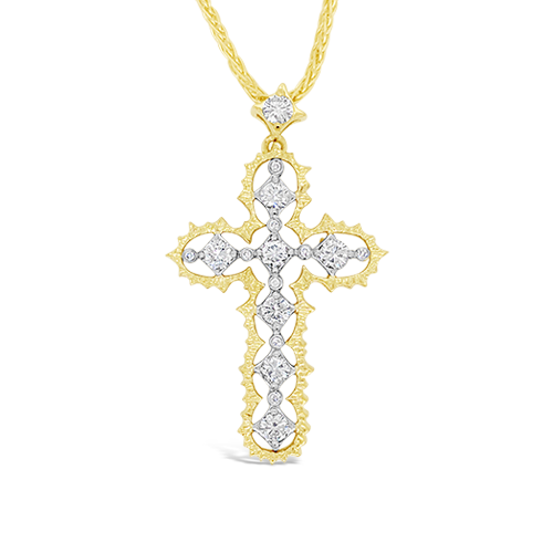 Platinum, Gold & Diamond Cross Pendant