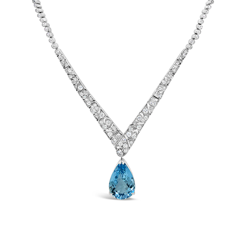 Aquamarine & Diamond Estate Necklace