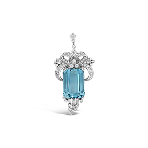 Aquamarine & Diamond Estate Clips/Pendant