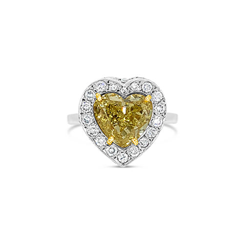 Heart Shaped Yellow Diamond Ring