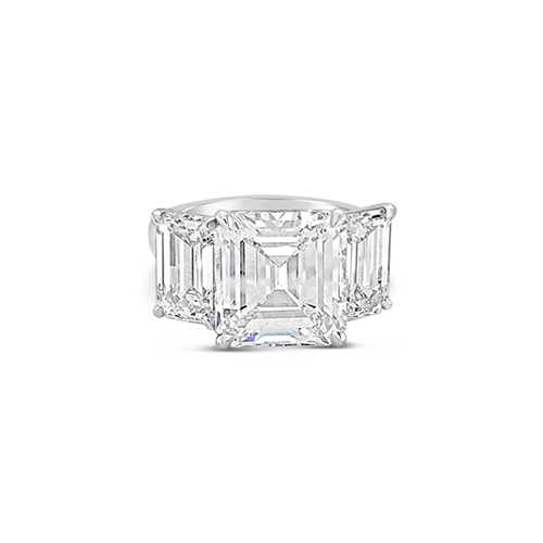 Emerald cut Three Stone Diamond Ring