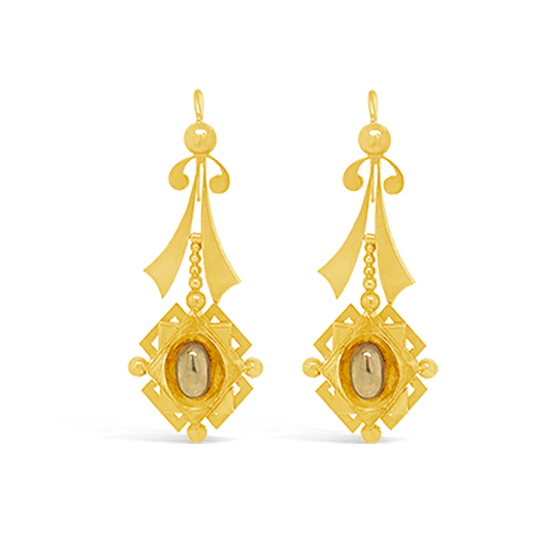 Yellow Gold Antique Dangle Earrings
