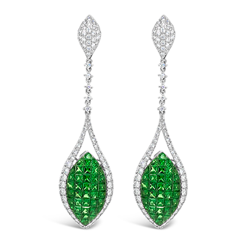 Tsavorite & Diamond Curvy Dangle Earrings