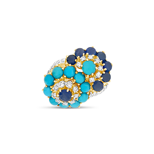 Turquoise, Sapphire & Diamond Estate Ring