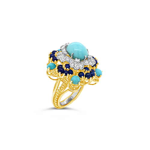 Turquoise, Lapis & Diamond Estate Ring