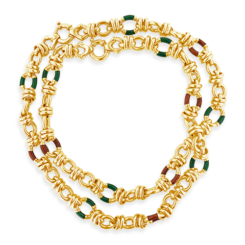 Gold & Enamel Estate Necklace