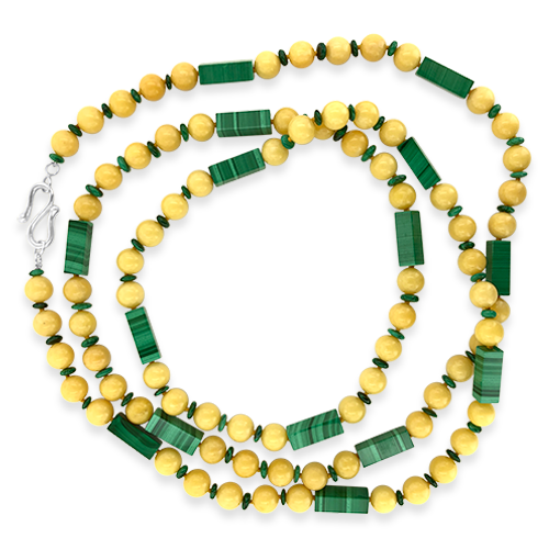 Honey Calcite & Malachite Necklace