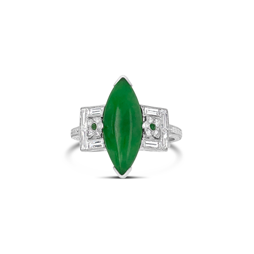 Natural Jade & Diamond Estate Ring