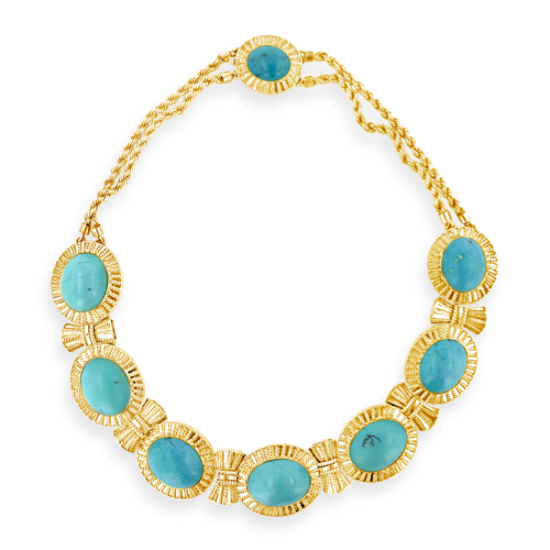 Turquoise & Gold Estate Necklace