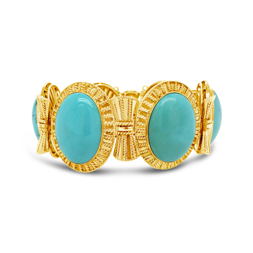 Turquoise & Gold Estate Bracelet