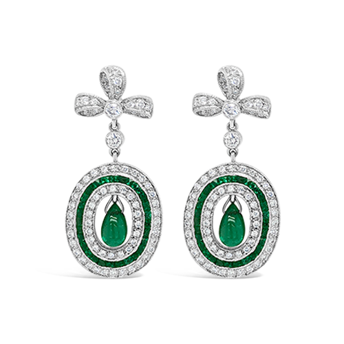 Emerald & Diamond Estate Earrings
