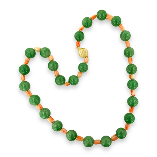 Jade & Coral Estate Necklace