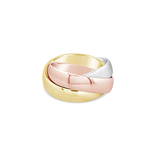 Tri-color Rolling Ring Wedding Band