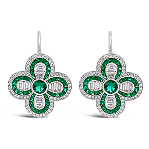 Emerald & Diamond Clover Shaped Earrings