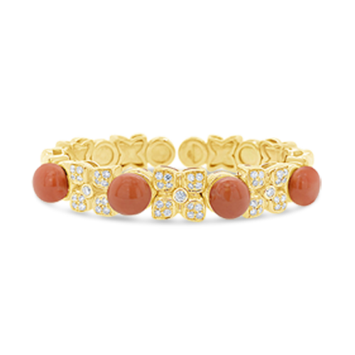 Coral & Diamond Bangle Bracelet