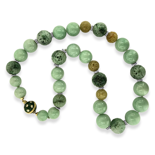 Carved Jade & Diamond Necklace