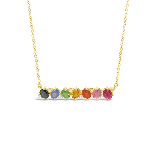 Multi-color Sapphire & Diamond Bar Necklace