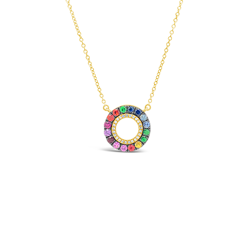 Multi-color Gemstone & Diamond Circle Pendant