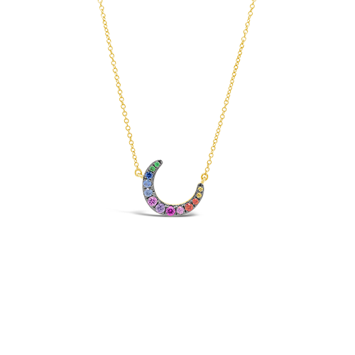 Crescent Moon Gemstone Pendant