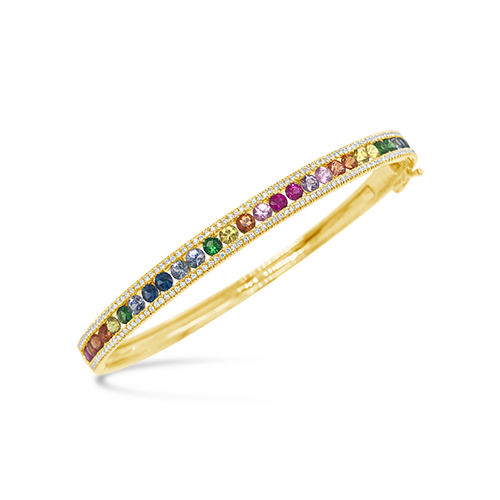 Multi-color Sapphire & Diamond Bangle Bracelet