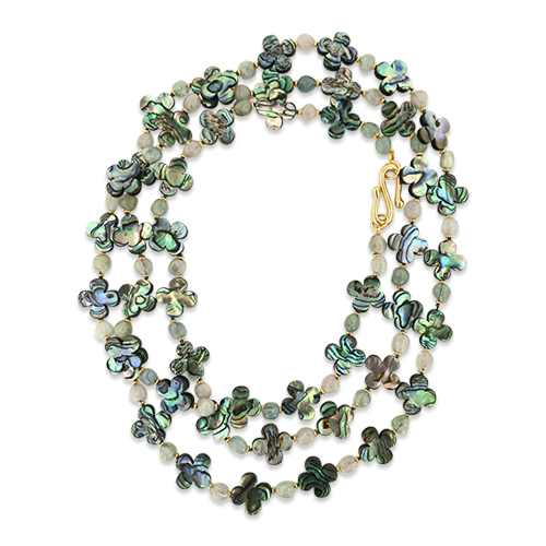 Long Abalone Clover Design Necklace
