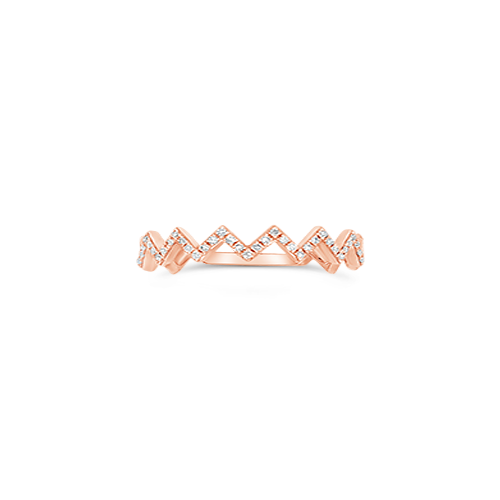 Rose Gold & Diamond Chevron Style Ring