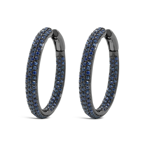 Blue Sapphire Hoop Earrings