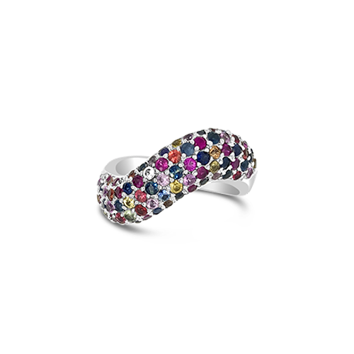 Multi-color Sapphire Wave Ring