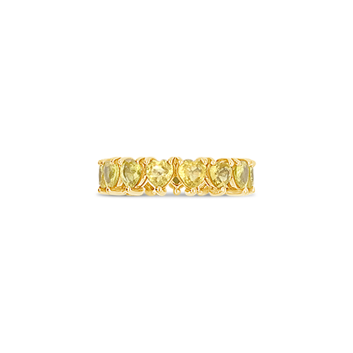 Heart Shaped Yellow Sapphire Eternity Band