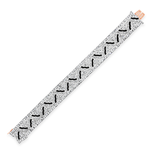 Diamond & Onyx Tiffany Deco Estate Bracelet