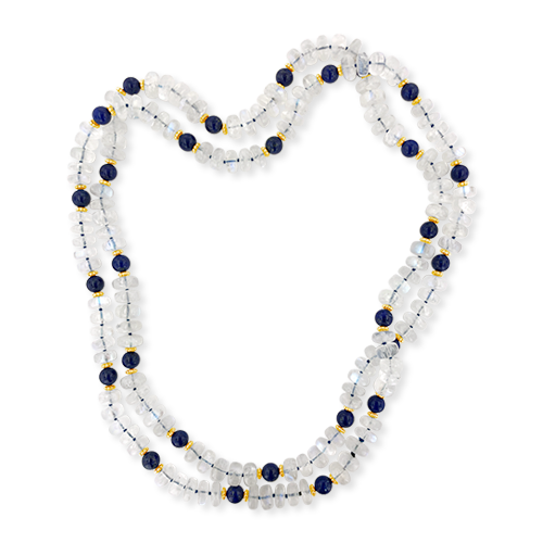Moonstone & Lapis Bead Necklace