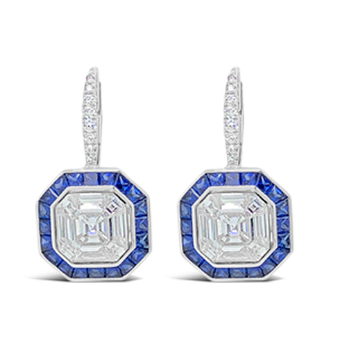 Sapphire & Diamond Dangle Earrings