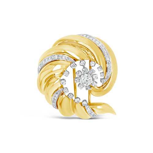 Gold & Diamond Swirl Estate Pin