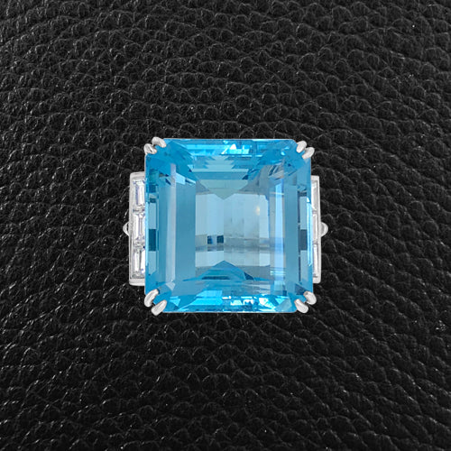 Aquamarine & Diamond Estate Ring