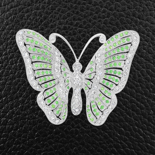 Demantoid Garnet & Diamond Butterfly Pin