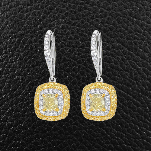 Yellow & White Diamond Dangle Earrings