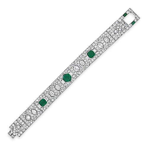 Emerald & Diamond Cartier Estate Bracelet