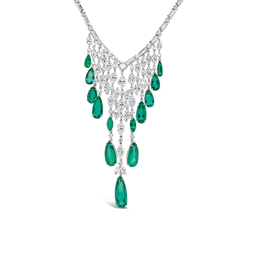 Emerald & Diamond Bib Necklace