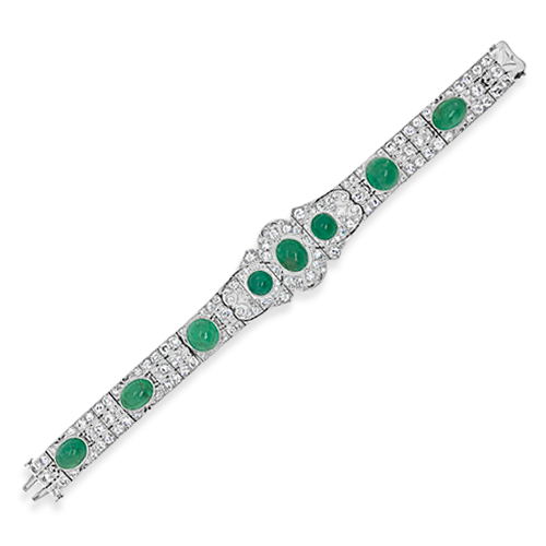Art Deco Emerald & Diamond Estate Bracelet