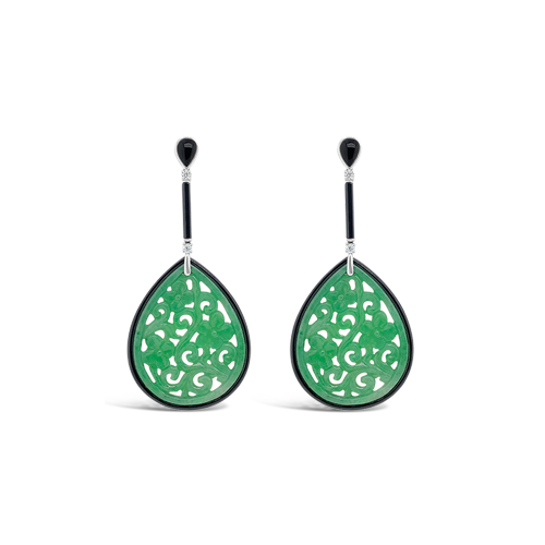 Jadeite, Diamond & Onyx Estate Earrings