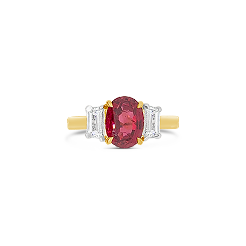 Red Spinel & Diamond Estate Ring